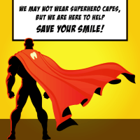 A super hero wearing a cape with a tooth icon
