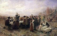 A painting of the first Thanksgiving