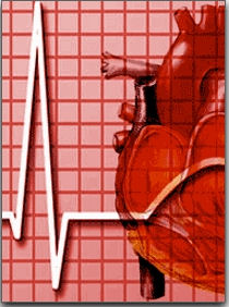 Infographic of a heart in front of an Electrocardiogram
