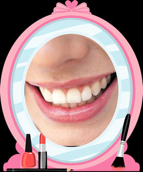 A smile reflected in a cartoon mirror